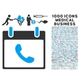 Phone Calendar Day Icon With 1000 Medical Business vector image vector image