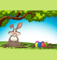 rabbit and easter egg in nature vector image vector image