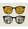 Retro sunglasses with monster pattern reflection vector image