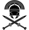 roman helmet and swords third variant vector image vector image