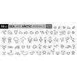 sea creatures line icon set set line icons on vector image vector image