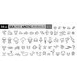 sea creatures line icon set set line icons vector image vector image