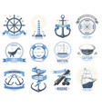Sea nautical old rettro badge set sailing vector image