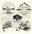 set fishing club labels design elements vector image