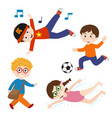 set isolated kids with active actions vector image