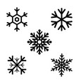 set of black snowflakes icons black snowflake vector image vector image