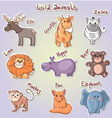 Set of cartoon wild animals vector image vector image