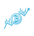 silhouette financial arrow up to bitcoin currency vector image vector image