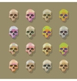 Skulls pixel multicolored vector image vector image