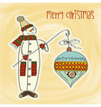 snowman with big Christmas ball vector image