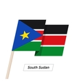South Sudan Ribbon Waving Flag Isolated on White vector image