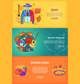 spain banner set template cartoon style vector image vector image