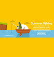 summer fishing banner horizontal concept vector image