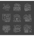 Tourism and travel white line detail icons vector image vector image