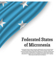 waving flag of federated states of micronesia vector image vector image