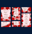 wedding invitation card with rose flower frame vector image