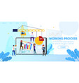 working process people making web page design vector image