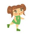 young girl kid singing dancing in dress cute vector image