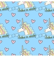 Funny pattern unicorn with heart on a blue vector image