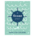 Hand drawn vintage nautical card with grunge vector image