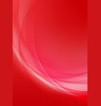 abstract curved red background vector image vector image
