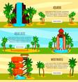 aqua park flat horizontal banners vector image vector image