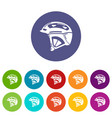 bike helmet icons set color vector image