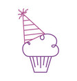 birthday cupcake with party hat decoration vector image vector image