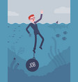 businessman drowning chained with a weight job vector image vector image