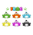 cartoon frogs different colored toads vector image