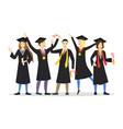 cartoon graduation of happy students row vector image vector image