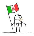 cartoon italian man with flag and mask vector image