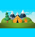 cartoon summer landscape tent fire mountain vector image