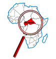 central african republic under a magnifying glass vector image