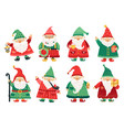 christmas dwarfs cute fairytale gnome old beard vector image vector image