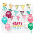 color balloons happy birthday on white background vector image vector image