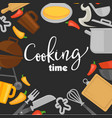 cooking time poster of chef cook utensils vector image vector image