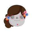 cute catrina culture traditional mexico icon vector image