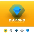 Diamond icon in different style vector image