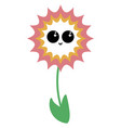 flower with cute eyes on white background vector image vector image