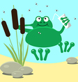 Frog resting swamp reeds and midge vector image vector image