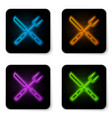 glowing neon crossed knife and spatula icon vector image