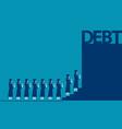 graduate students walking into debt concept vector image