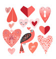 graphic heart set vector image vector image
