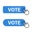 hand cursor clicks vote button vector image vector image