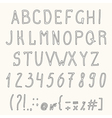 Hand drawn grunge font Hand drawn letters vector image