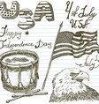 Hand drawn sketch American bald eagle drum and usa vector image