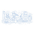 horizontal banner with pair of veterinarians vector image vector image