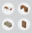 isometric design set of table cabinet chair and vector image vector image