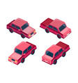 isometric set red car vector image vector image